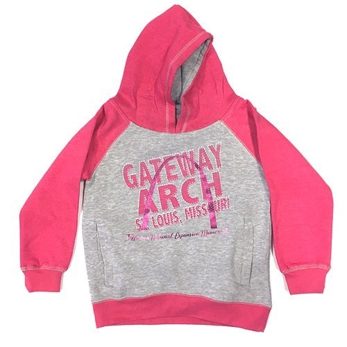 Girls Baseball Style Hoodie In Grey and Pink