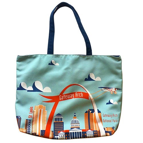 Arch with Plane _mint Tote Bag