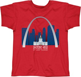 Gateway Arch Red Skyline short sleeve T-Shirt