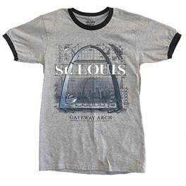 Gateway Arch construction heather grey t-shirt with navy trim.