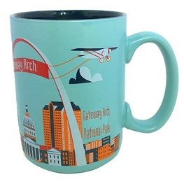 Arch with Plane _mint ceramic mug
